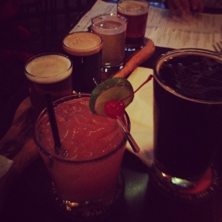 Our drinks at St. Augustine's. I had the one with the cherry garnish-- the Tequila Sunrise.
