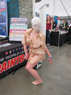 A cosplayer cosplaying a nurse from Silent Hill. She limped around the whole con the whole day. Props to her for her dedication!!