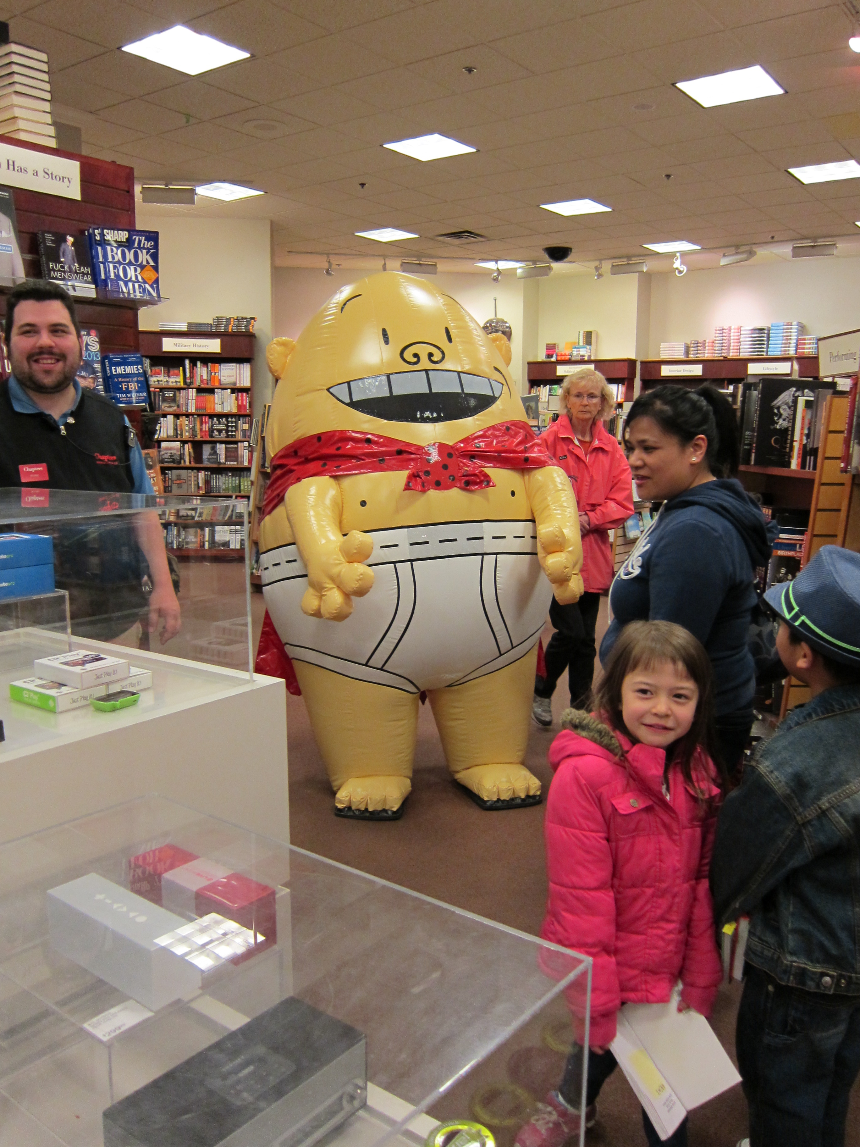 Giant inflated Captain Underpants in the store