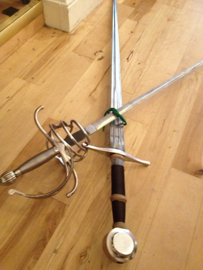 The longsword and the rapier...and our newly earned green cord!