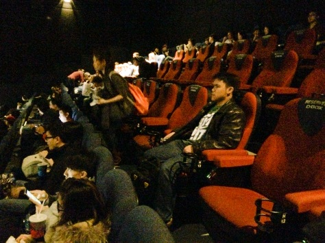 Red seats = D-BOX seats; Blue seats = regular seats. All in the same theatre.