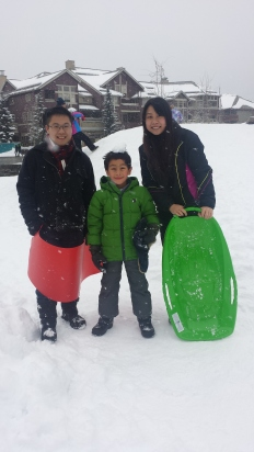 A pic with some kid who taught us how to properly toboggan :)