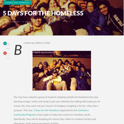 5 days for the homeless