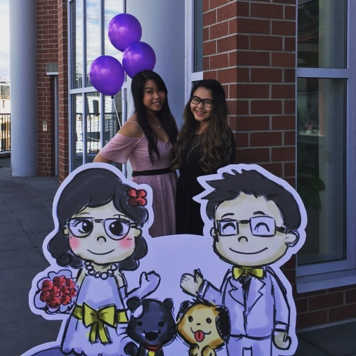 My sis and I with the cardboard cutouts!
