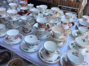 Fine china being sold at the Sunday market